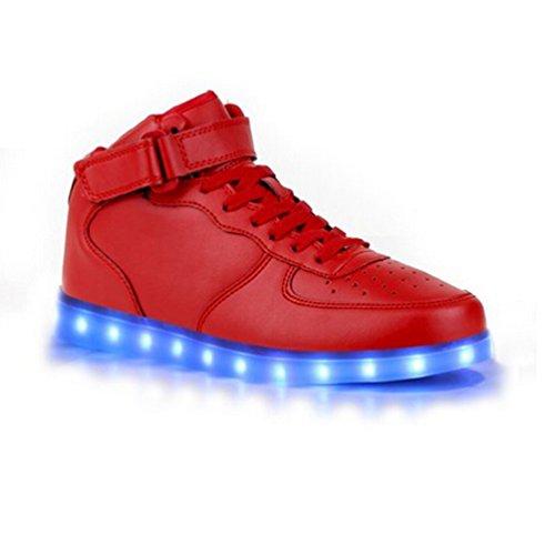 iLory de Couleur Mode Hith-Top Unisexe Homme Femme USB Charge LED Lumière Lumineux Clignotants Chaussures de Sports Baskets Sneakers Rouge