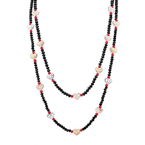 XZZZBXL Damenhalskette,Doppellagiges Kristall Perlen Halskette Frauen Schmuck Cute Herz Charme Halskette Geschenk Für Frauen Kragen -