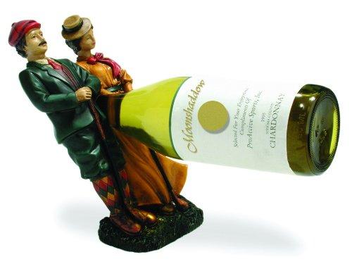 couples-de-golf-support-pour-bouteille-de-vin-peintes-a-la-main-superbe