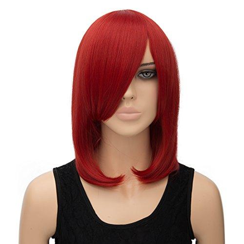 priomix 40cm kurz gerade bob Stil Perücke mit Pony Daily Basic Nachtclub Party Kleid bis Anime Cosplay Perücke Haar für Frauen (Flag Pony)