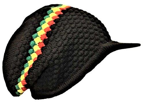 Gorro tejido Rasta Reggae color negro, de punta encorvada, estilo Bob Marley abolsado