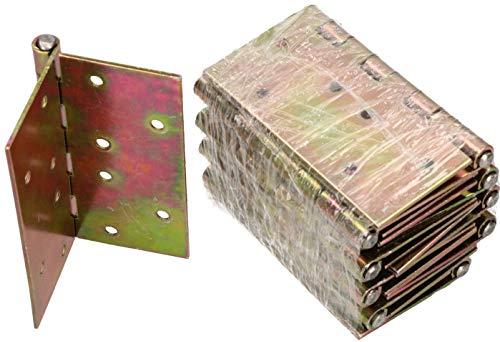 KOTARBAU 10 Stück Türscharniere 100 mm x 100 mm Gerollt Verzinkt Gelb Kantige Scharniere Möbelband Türband Kistenband Schatullen Schrankscharniere