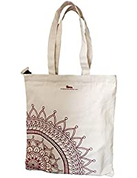 Arka 100% Cotton Eco-Friendly Zipper Tote Bag Printed Red Flower