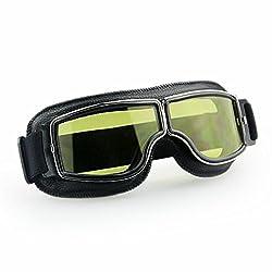 Masque moto Biker Noir et verres jaune 2