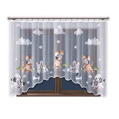 Promag - tenda con fettuccia arricciata, 300 cm di larghezza, per cameretta dei bambini, motivo animali, trasparente