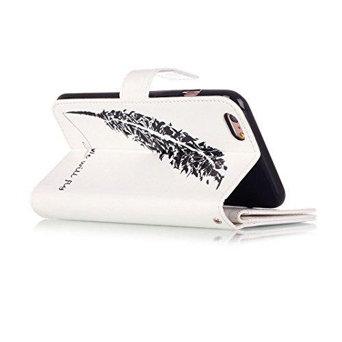 OuDu Housse iPhone 6/6S Etui de Portefeuille avec Fente pour Carte pour iPhone 6/6S Coque Flexible Doux Flip Leather Wallet Case Cover Bumper Etui Pochette en PU Cuir Coquille Mince Léger Couverture A Nous Volerons