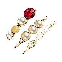 Wmaple 3PCS Pearl Hair Pins Hair Clip Hair Barrettes Accessories for Women Girls Red 6 * 1.7cm