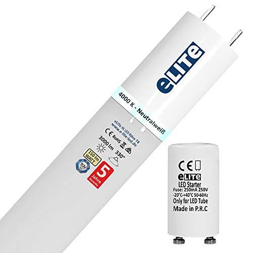 eLITe HL LED Röhre T8 mit Starter G13 | 120 cm 4000K / Universalweiß High Lumen 3000 lm | 150lm/W | 330° | Glas bruchresistent | kein Durchhängen | für Behörden und Firmen geeignet | ersetzt Leuchtstoffröhre | TÜV