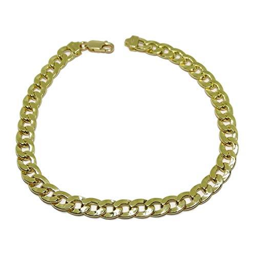Imagen de never say never pulsera de oro amarillo de 18k para hombre tipo barbada de 21.50cm de larga, 7mm de ancha y 11.80gr todo oro de 18k