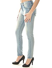 Jeans slim bleu clair délavé