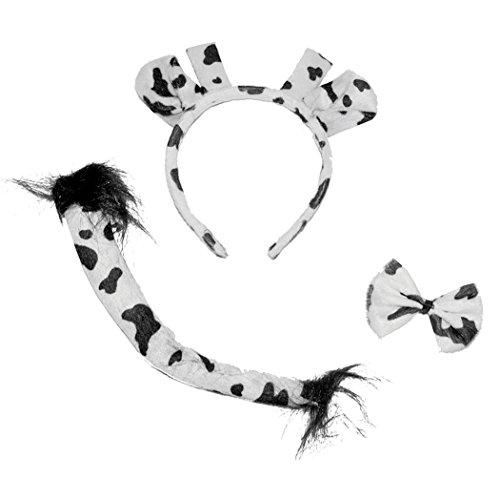 Karneval Klamotten Kostüm Set Kuh Zubehör Tiere Karneval