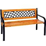 FineHome Stabile Parkbank aus Matall Holz und witterungsbeständigem Hartkunststoff Gartenbank 120 x 52 x 74 cm Sitzbank