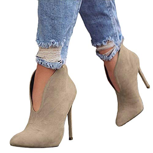 Booties High Wildleder Heel (Minetom Damen Stiefeletten Mode Frühling Herbst Stiletto Shoes Booties Stiefel Casual Schuhe Sexy Party Pumps High Heels Khaki EU 43)