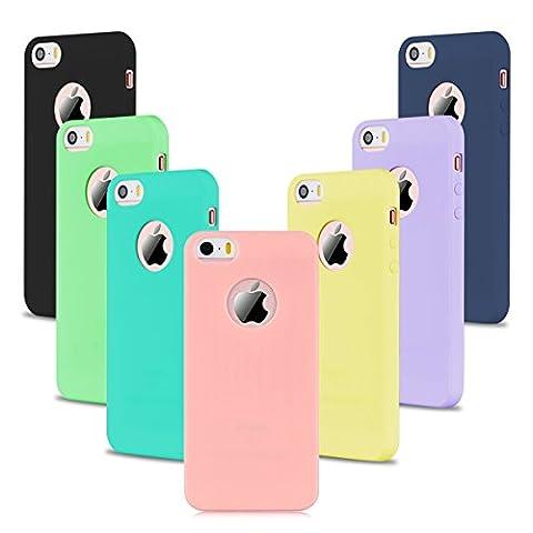 7 x Etui iPhone SE, Etui iPhone 5S, SpiritSun Etui Coque TPU Slim Bumper pour Apple iPhone SE / 5 / 5S Souple Housse de Protection Flexible Soft Case Cas Couverture Anti Choc Mince Légère Silicone Cover - Rose + Noir + Jaune + Bleu + Violet + Vert + Bleu Marin