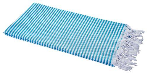 Carenesse Hamamtuch Streifen türkis, leicht und hauchzart, 100% Baumwolle, 90 x 180 cm, Pestemal, Saunatuch, Badetuch, Strandtuch, Handtuch Backpacker, Turkish Towel, Fouta (Hamam Handtuch)