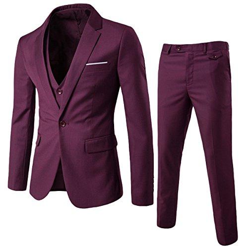 Schwarz Schwarz Schal Kragen Smoking Jacke (Allthemen Herren 3-Teilig Slim Fit Anzug Zwei Knöpfe Business Sakko)