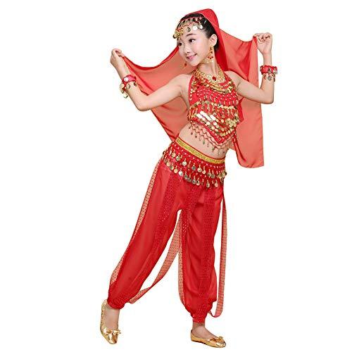 uirend Danza Ropa Niña Vestidos - Kid's Belly Dance Halter Top Pantalones Harem Disfraces de Halloween Princesa Ropa de Gasa Fiesta de Lujo Cosplay Dancewear