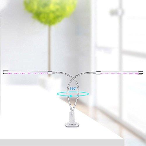 led Pflanzenlampe, Lucoss 18W Pflanzenlicht Doppelkopf Wachstumslampe Vollspektrum Wachsen Licht 360 Grad einstellbar Flexible ,Klemmhalterung,3 Modes Timer(3H/9H/12H) für