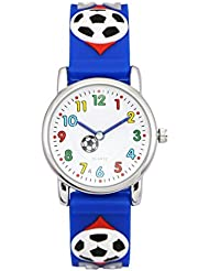 Zeiger Fußball Kinderuhr Armband Uhr Fußball Kinder Armbanduhr Blau Sportuhr Lernuhr KW002