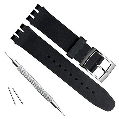 19mm Uhrenarmband Ersatz Silikon Gummi Wasserdicht Armbanduhr Band (schwarz) -