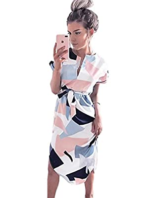 LitBud Womens Dresses Summer Short Sleeve Casual Work Belted Midi Tunic Dress for Ladies Pink