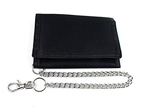 Mens Ladies Boys New Canvas Rippa Style Wallet Chain Coin Pouch Credit Card Holder (BLACK)