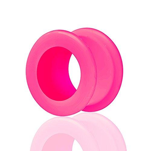 Piercingfaktor Farbiger Flesh Tunnel Silikon Double Flared Weich Flexibel XXL Rund Ring Creole Ohr Plug Ear Piercing 8mm Pink