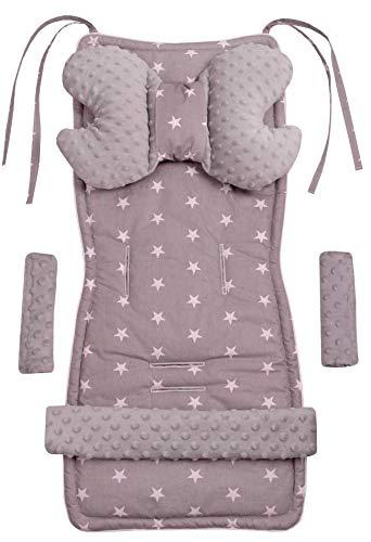 Universal Sitzauflage Kinderwagen & Buggys Sitzeinglage Kinderwagendecke 5tgl Gurtpolster + Spielbogen Kinderwagenset MINKY Baumwolle Medi Partners (Sternen mit grauen Minky)