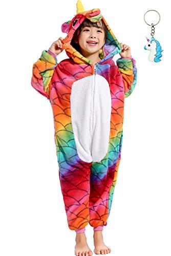 Landove Pigiama Intero Bambina Unicorno Tuta Flanella Kigurumi Animale Tutina Costume Cosplay Pajama per Party Halloween Carnevale Sleepwear Romper Jumpsuit OnePiece Regalo di Compleanno Nat