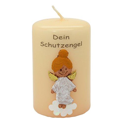 Kerze mit Engel Motiv - Engelkerze aus Wachs mit Text Dein Schutzengel, Stumpenkerze Flachkopf, 80/50mm