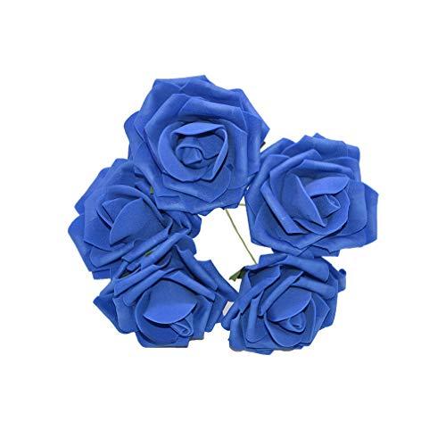 Kion Pasue artificial flowers 10Pcs 8Cm Big-Schaum-Blumen-künstliche Rosen-Blumen-Brautstrauß Hochzeit Dekoration DIY Scrapbooking Fertigkeit Gefälschte Blume, Royal Blue (Royal Gefälschte Blumen Blue)