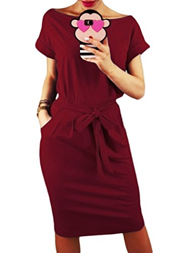 Issza Damen Einfarbig Taschen Kleid mit Gürtel Lose Abendkleid Rundkragen Kurzarm Casual Partykleid Sommerkleid