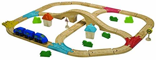 Plantoys - Pt6606 - Véhicule Miniature - Rail - Circuit Train Double avec Pont