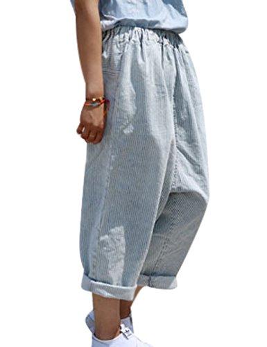 Youlee Damen Elastische Taille Weites Bein Hose Gestreifte Jeans Blau