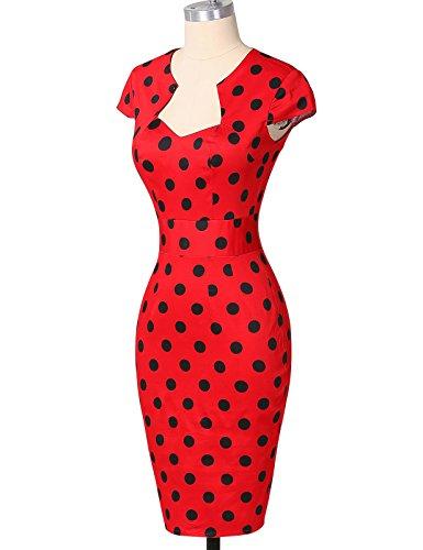 50er Jahre Kleid Vntage & Rockabilly Stil knielang kurzarm Polka Dot Kleid ~ rot - 4