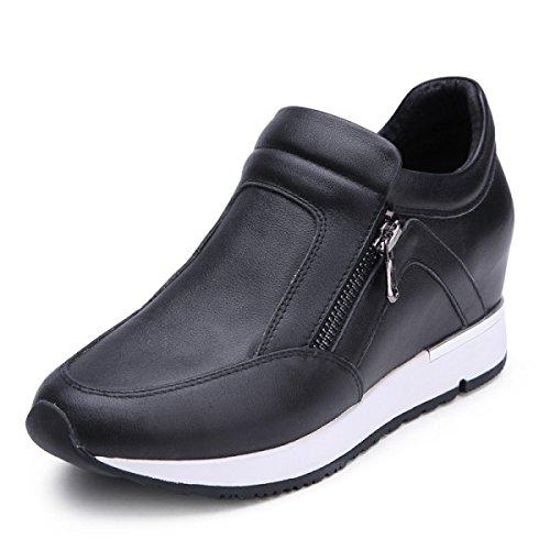 GRRONG Chaussures Pour Femmes Chaussures Plates Chaussures De Sport Cuir épais Black