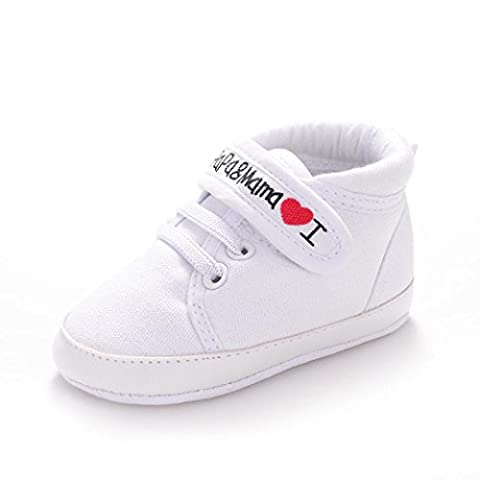 Yogogo Bébé Toile Sneaker - Chaussures Kid Garçon Fille douce Sole Toddler - Bébé Prewalker (12, Blanc)