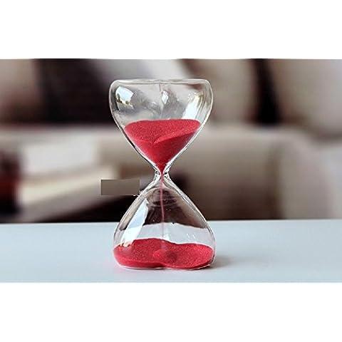 Joel Sand Timer di vetro trasparente 15-Min Sand Clock Clessidra mestiere elegante con Red Sand mensola Orologi, tavolino della decorazione
