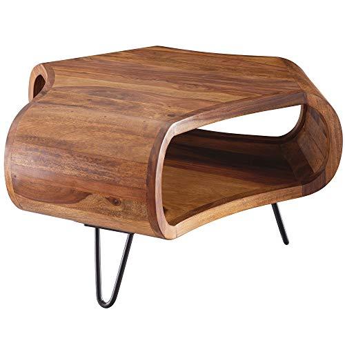 FineBuy Couchtisch 60x60x35 cm Sheesham Massiv Holz Ablage & Metallgestell | Retro Wohnzimmertisch...