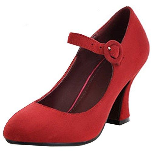 COOLCEPT Femmes Classique Mary Janes Escarpins Cheville Chaussures Talons Bloc Rouge
