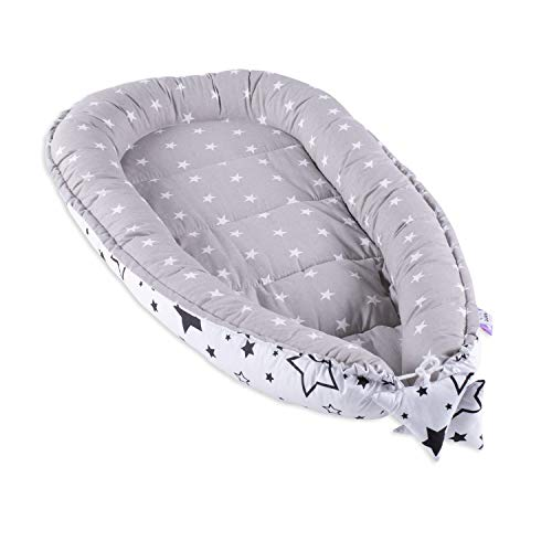 Baby nestchen Babynest nest Babynestchen - Kuschelnest groß Kokon für Kinderbett Reisebett Liegekissen für Neugeborene 100% Baumwolle GRAU-WEIß -
