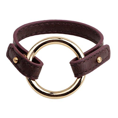 simple-dorado-circle-leather-rope-buckle-bracelet-pulsera-pulsera