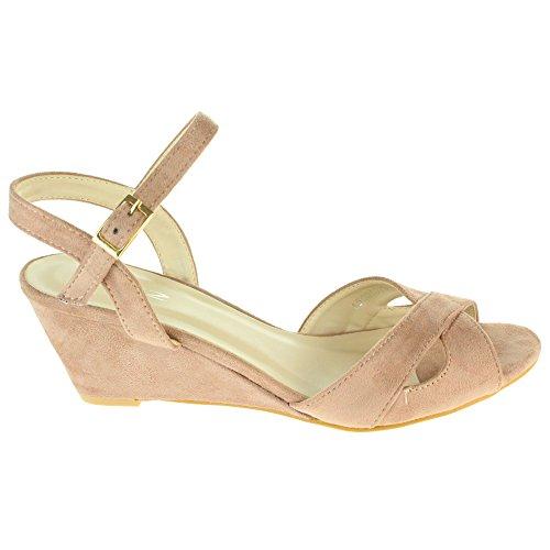 Femmes Dames Soir Mariage Fête Doux Sangle de cheville Peep Toe Talon compensé Des sandales Chaussures Taille Rose