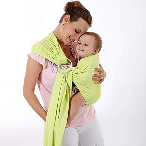 JIALIANG Baby Ring Sling Morbido Cotone Naturale per Neonati Fino a 35 lbs, 100% Cotone Tessuto, Unisex