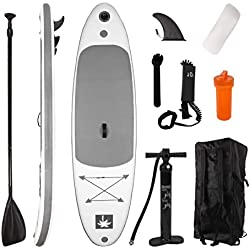 YOUKE Stand Up Paddle Gonflable 280x78x15cm (Ép), Pompe Haute Pression, Pagaie/Leash/Sac, Aileron Central Amovible