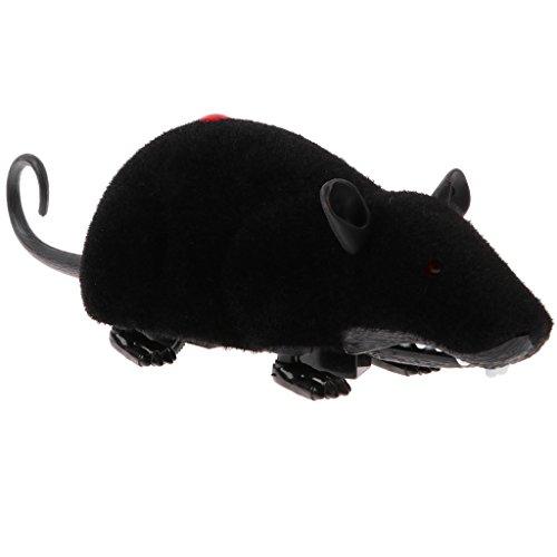 ektrische RC Fernbedienung Ratte Maus Tierfigur Streich Spielzeug, Halloween Geschenk für Kinder oder Erwachsene - Schwarz ()
