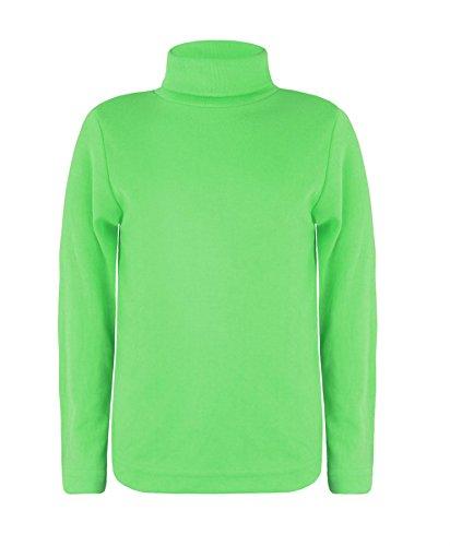 LOTMART Kinder Langärmelig Rollkragen Einfarbig Einfaches Top Mädchen Jungen Jersey Polo Oberteile - Grün, Unisex, 134-140