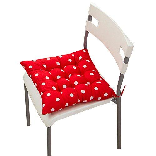 Stuhlkissen, einfarbig, gesteppt, weich, zum Festbinden, für zu Hause/Büro, Polyester, rote punkte, #2-Red Polka Dot Rot Polka Dot Polyester