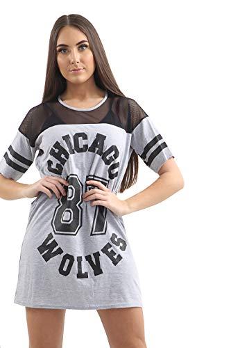 Loxdonz Frauen Kurze Ärmel Chicago Wolves 87 Druck Übergroße Baseball Varsity Trikot T-Shirt Kleid (ML - EU 40/42, Hellgrau) - Varsity Baseball