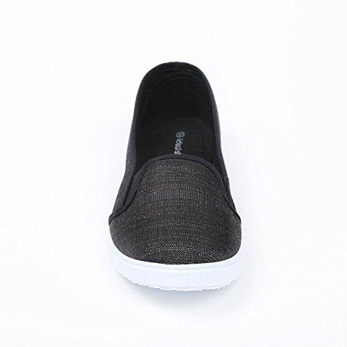 Ideal Shoes Sneakers slip-on glitzernd Dariane Schwarz - Schwarz